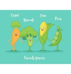 Funny vegetables holding hands vector