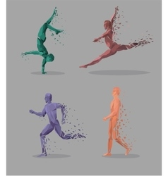 Geometric particle run dance people vector