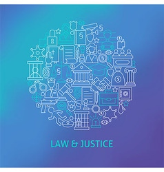 Thin line law and justice icons set circle concept vector