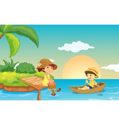a river and kids vector image