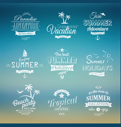 Beach retro labels set on blue vector