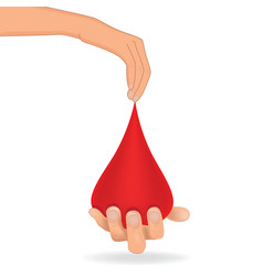 blood donation concept drop of blood hold in hand vector image vector image