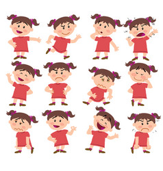 cartoon character girl set with different postures vector image vector image