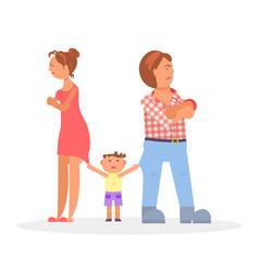 Child between quarreling parents vector