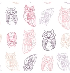 Decorative hand dravn cute owl sketch doodle pink vector