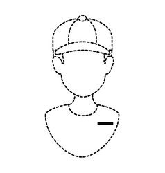 delivery worker with cap uniform vector image