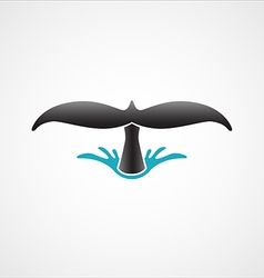 diving whale tail logo sign badge isolated vector image vector image