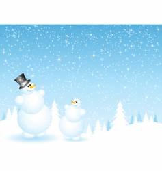 father and son snowmen vector image