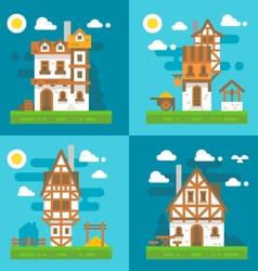 Flat design old european buildings vector