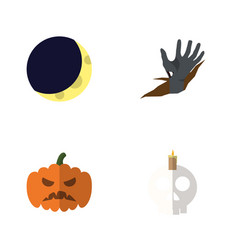 flat icon halloween set of zombie crescent vector image