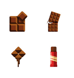 flat icon sweet set of cocoa delicious sweet and vector image vector image
