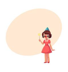 Girl celebrating birthday holding star stick vector