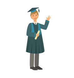 graduate boy in the mantle holding graduation vector image
