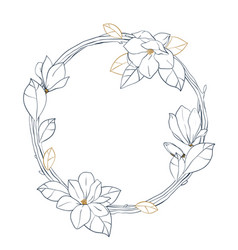 graphic magnolia wreath floral design isolated on vector image vector image