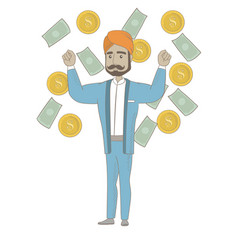 Happy hindu busiessman standing under money rain vector