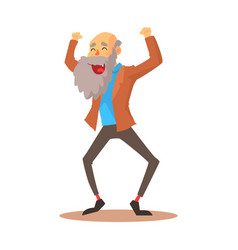 happy laughing old man standing with raised arms vector image vector image