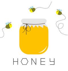 Honey jar pot icon honeycomb text beehive vector