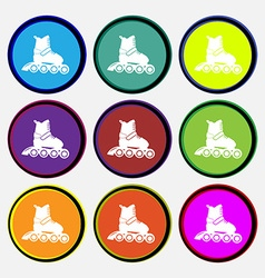roller skate icon sign Nine multi colored round vector image