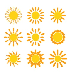 Set of suns Sun icons vector image