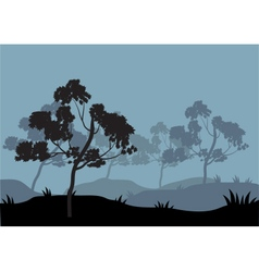 Silhouettes of tree on the hill vector image