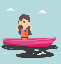 young woman floating on a boat in polluted water vector image vector image