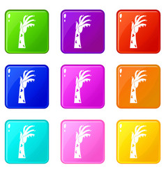 Zombie hand icons 9 set vector