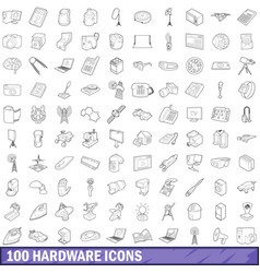 100 hardware icons set outline style vector