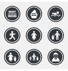 People family icons swimming person signs vector