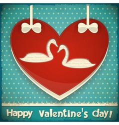 Valentines Card with Swans vector image