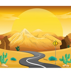 A winding road at the desert vector image