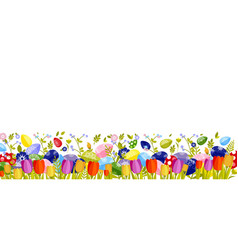 happy easter isolated colored eggs spring vector image