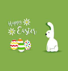 happy easter white bunny spring design vector image