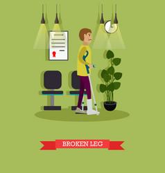 man with broken leg in flat vector image
