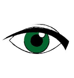 green eye look watch cartoon icon vector image