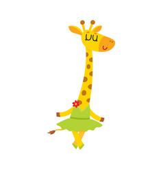 Happy cute little giraffe character ballet dancer vector