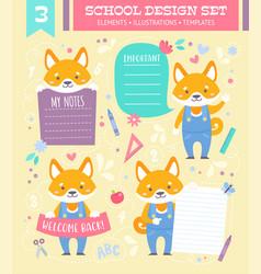 School design set with cartoon character vector