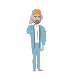 Hindu customer service operator in headset vector