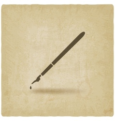Fountain pen with ink drop old background vector