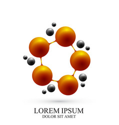 3d logotype icon dna and molecule template vector