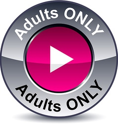 Adults only round button vector