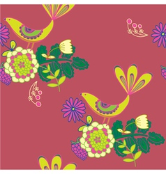 vintage birds and floral background vector image