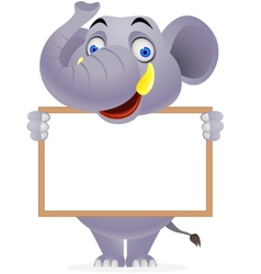 Elephant with blank sign vector