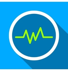 Pulse monitoring flat long shadow square icon vector