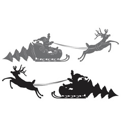 Flying santa claus in a reindeer sleigh vector