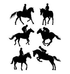 Equestrian sports silhouettes vector