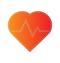 Heartbeat sign  orange applique vector