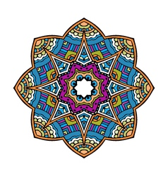 Acid color ethnic mexican peru tribal mandala pr vector image