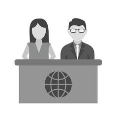 Anchors on news desk vector
