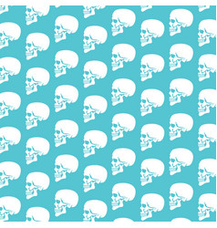 background pattern with human skull profile vector image vector image