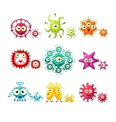 Bacteria and virus fun set vector